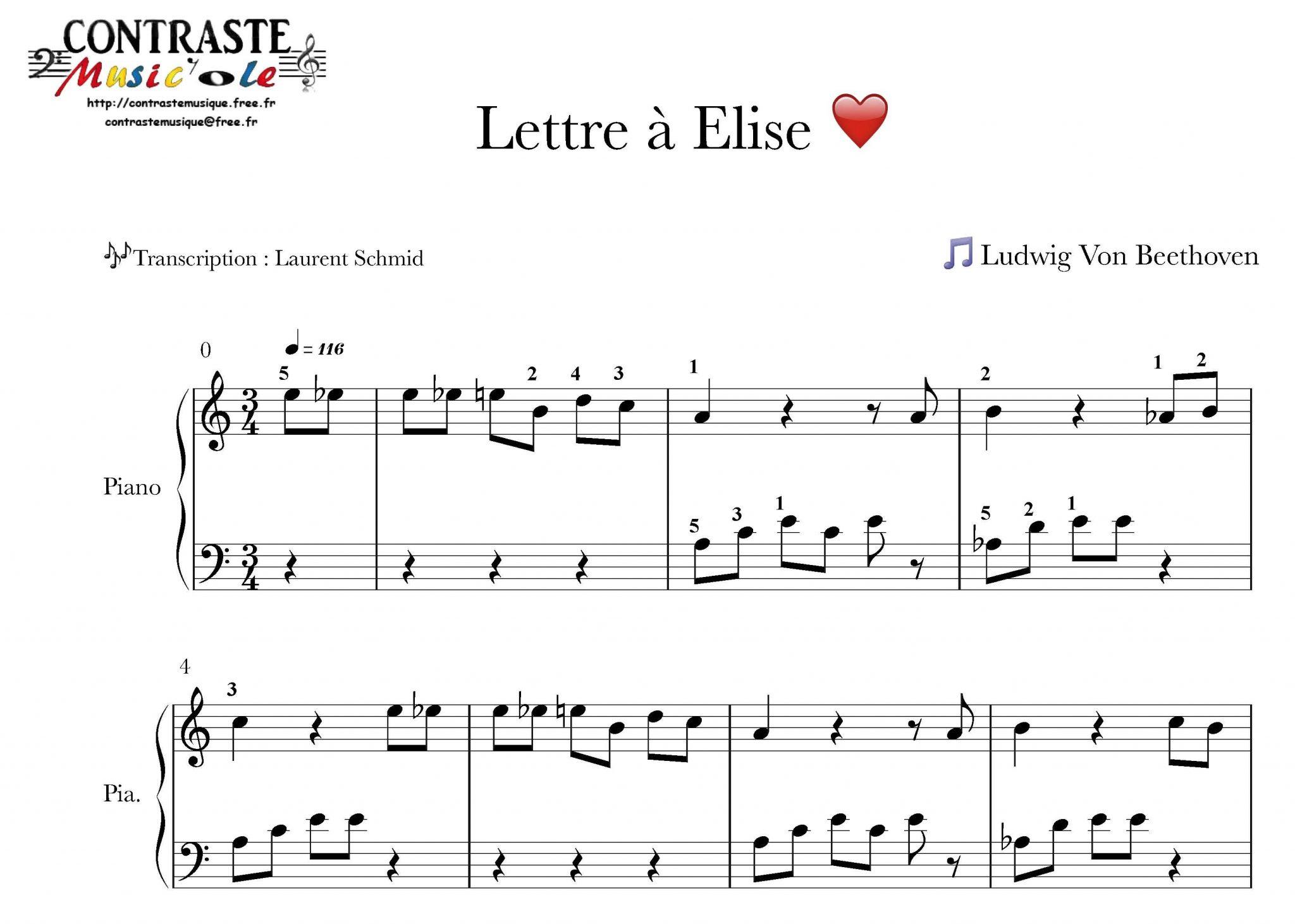 lettre a elise Lettre à Elise – Contraste Music'Ole lettre a elise